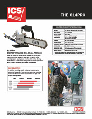 ICS 814PRO Concrete Chainsaw Data Sheet