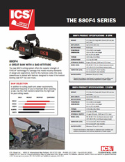ICS 880F4 Concrete Chainsaw Data Sheet