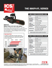 ICS 880F4-FL (Flush Cut) Concrete Chainsaw Data Sheet